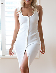 cheap -Women's Club Slim Shift / Sheath Dress - Solid Colored Deep U