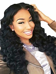 cheap -Remy Human Hair Full Lace Wig Brazilian Hair Wavy Wig Layered Haircut 130% With Baby Hair / Natural Hairline / 100% Hand Tied Black Women's Long Human Hair Lace Wig