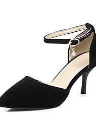 baratos -Mulheres Sapatos Couro Ecológico Primavera Verão D'Orsay Saltos Salto Agulha Dedo Apontado Preto / Bege