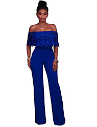 cheap -Women's Going out Jumpsuit - Solid Colored, Lace Wide Leg Off Shoulder
