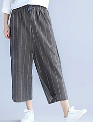cheap -Women's Basic Cotton Loose Wide Leg Pants - Striped / Spring