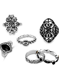 cheap -Men's Black Gemstone Hollow / Stackable Statement Ring / Rings Set - Cowboy, Hip-Hop, Ancient Greek Silver For Evening Party / Carnival