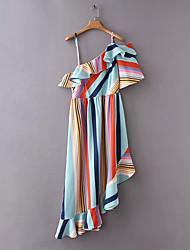 economico -Per donna Vintage Manica a sbuffo Tubino Vestito - A pieghe, Tinta unita Medio Blu e bianco