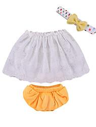 Недорогие -малыш Девочки Активный / Классический Однотонный / Контрастных цветов Вышивка Без рукавов Короткая Хлопок Набор одежды