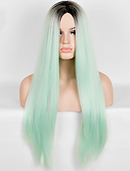 cheap -Synthetic Wig Straight / European Synthetic Hair Heat Resistant / Ombre Hair Green Wig Women's Long Capless