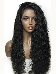 Недорогие -человеческие волосы Remy Лента спереди Парик Бразильские волосы Кудрявый Черный Парик Стрижка каскад 180% Плотность волос с детскими волосами Природные волосы Черный Жен. Длинные
