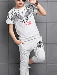Недорогие -Дети Мальчики Уличный стиль С принтом С короткими рукавами Хлопок Набор одежды