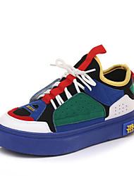 Недорогие -Жен. Обувь Сатин / Полиуретан Осень Удобная обувь Кеды На плоской подошве Круглый носок Белый / Красный / Синий