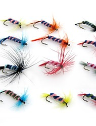 cheap -12 pcs pcs Flies / Fishing Lures / Fishing Accessories Set Flies Feathers / Carbon Steel Wear-Resistant / Easy to Carry / Light Weight Fly Fishing / Bait Casting / Freshwater Fishing