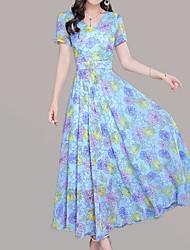 baratos -Mulheres Moda de Rua / Sofisticado Bainha Vestido - Estampado, Floral Médio