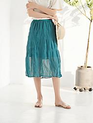 povoljno -žene izlaze iz midi linije suknje - solidne boje