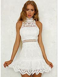 cheap -women's going out slim sheath dress high waist mini crew neck