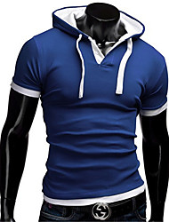 cheap -Men's T-shirt - Solid Colored Hooded / Long Sleeve