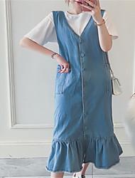 abordables -Femme Toile de jean Robe Couleur Pleine Midi
