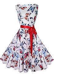 baratos -Mulheres Vintage Evasê Vestido - Estampado, Animal Acima do Joelho Borboleta