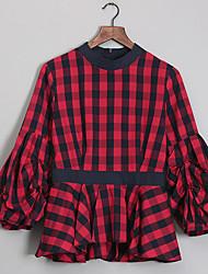 baratos -Mulheres Camisa Social - Trabalho Xadrez Gola Redonda