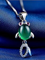 Недорогие -Жен. Оникс Ожерелья с подвесками - Стерлинговое серебро S925 корейский, Мода Cool Темно-зеленый 0.7874 дюймовый Ожерелье Бижутерия 1шт Назначение Свадьба, Повседневные