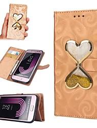 Недорогие -Кейс для Назначение SSamsung Galaxy J7 (2017) / J5 (2017) Кошелек / Бумажник для карт / Движущаяся жидкость Чехол С сердцем Твердый Кожа