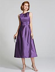 baratos -Linha A Decorado com Bijuteria Longuette Tafetá Vestido Para Mãe dos Noivos com Miçangas de LAN TING BRIDE®