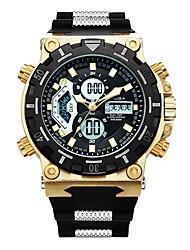 Недорогие -Муж. Спортивные часы Японский Кварцевый 30 m Защита от влаги Календарь Секундомер силиконовый Группа Аналого-цифровые Роскошь Мода Черный - Золотой Черный Два года Срок службы батареи