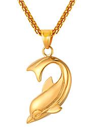 preiswerte -Herrn Lang Anhängerketten - Edelstahl Delphin Modisch Gold, Schwarz, Silber 55 cm Modische Halsketten 1pc Für Geschenk, Alltag