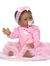 Недорогие -NPKCOLLECTION Куклы реборн Девочки 24 дюймовый Силикон - Искусственная имплантация Коричневые глаза Детские Девочки Подарок