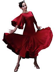 Недорогие -Бальные танцы Платья Жен. Учебный Ice Silk (искусственное волокно) Комбинация материалов Рукав 3/4 Средняя талия Платье