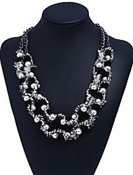 Недорогие -Жен. Многослойность Слоистые ожерелья  -  Искусственный жемчуг Цветы Элегантный стиль, Многослойный Черный 22 cm Ожерелье 1шт Назначение Для вечеринок, Свидание