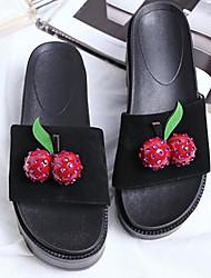 cheap -Women's Shoes Sheepskin Summer Comfort Slippers & Flip-Flops Low Heel Black / Green / Pink
