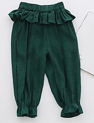 Недорогие -малыш Девочки Уличный стиль Однотонный Хлопок Брюки Зеленый / Дети (1-4 лет)