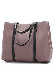 baratos -Mulheres Bolsas couro legítimo Conjuntos de saco 2 Pcs Purse Set Botões / Ziper Rosa / Marron / Vinho