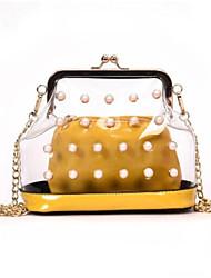 baratos -Mulheres Bolsas PU Conjuntos de saco 2 Pcs Purse Set Botões / Detalhes em Pérolas Vermelho / Rosa / Amarelo