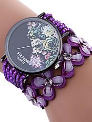 Недорогие -Xu™ Жен. Часы-браслет / Наручные часы Китайский Творчество / Повседневные часы / обожаемый PU Группа Цветы / Мода Черный / Белый / Синий / Имитация Алмазный / Крупный циферблат / Один год
