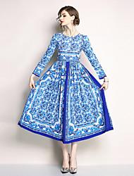 お買い得  -女性用 ボヘミアン / ストリートファッション スウィング ドレス - プリント, フラワー マキシ