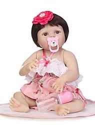 Недорогие -NPKCOLLECTION Куклы реборн Девочки 24 дюймовый Полный силикон для тела Винил - как живой Искусственная имплантация Коричневые глаза Детские Девочки Игрушки Подарок