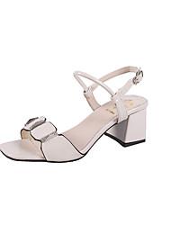 Mujer Zapatos PU Verano Pump Básico Sandalias Tacón Cuadrado Puntera abierta Purpurina Blanco / Beige / Almendra / Fiesta y Noche XvTWB