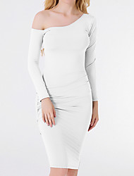 cheap -Women's Going out Slim Bodycon Dress - Solid Colored High Waist One Shoulder