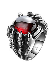 cheap -Men's Synthetic Ruby Band Ring - Stainless Steel Rock, Fashion Silver For Carnival / Holiday