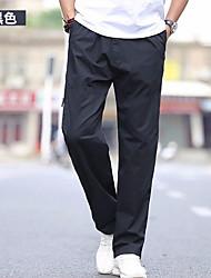 Недорогие -Муж. Классический Большие размеры Штаны Брюки - Однотонный Черный / Спорт / Лето / Осень