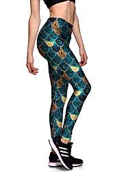 baratos -Mulheres Estampado Calças de Yoga - Verde Esportes Elastano Meia-calça / Leggings Tamanhos Grandes Roupas Esportivas Respirabilidade Com Stretch