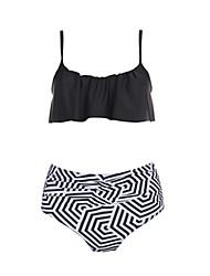 cheap -Women's Bikini - Geometric Black & White, Ruffle Briefs
