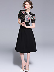 cheap -SHIHUATANG Women's Street chic / Sophisticated A Line / Little Black Dress - Floral Embroidered