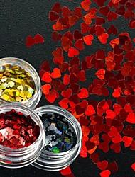 Недорогие -3шт Искусственные советы для ногтей Блеск Модный дизайн / Светящийся маникюр Маникюр педикюр Сердца Свадебные прием / На каждый день