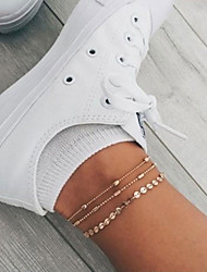 cheap -Layered Ankle Bracelet - Teardrop Casual / Sporty, Korean Gold / Silver For Gift / Daily / Street / Women's