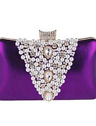 abordables -Mujer Bolsos Poliéster Bolso de Noche Detalles de Cristal / Detalles con Perlas Negro / Morado / Plateado