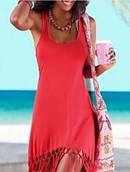 abordables -Femme Basique Moulante Robe - Mosaïque, Couleur Pleine Mi-long