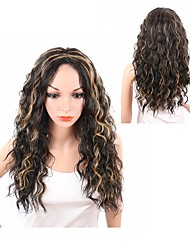 cheap -Synthetic Wig Wavy Middle Part Synthetic Hair Heat Resistant / Synthetic / African American Wig Black / Dark Brown Wig Women's Long Capless / Yes