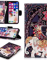 Недорогие -Кейс для Назначение Apple iPhone X / iPhone 8 Plus Кошелек / Бумажник для карт / со стендом Чехол Слон / Цветы Твердый Кожа PU для iPhone X / iPhone 8 Pluss / iPhone 8