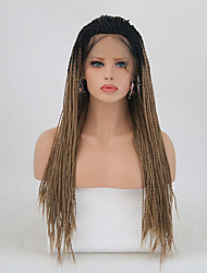 cheap -Synthetic Lace Front Wig Matte Golden Braid Synthetic Hair Natural Hairline Golden Wig Women's Long Lace Front / Yes