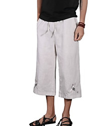 cheap -Men's Chinoiserie Wide Leg Pants - Animal Embroidered
